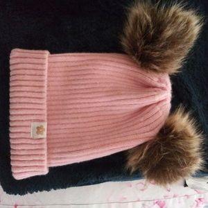 Limited Too pompom knit hat faux fur